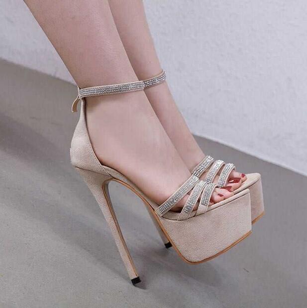 Sandalias de tacón de aguja con cremallera de moda para mujer, Sandalias de tacón alto con adorno de cristal, sandalias de gladiador de plataforma alta, zapatos de vestir - 3