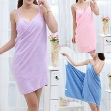 New Fashion Wearable Bath Microfiber Towel Robe Fast Dry Women Bathrobe Soft Spa