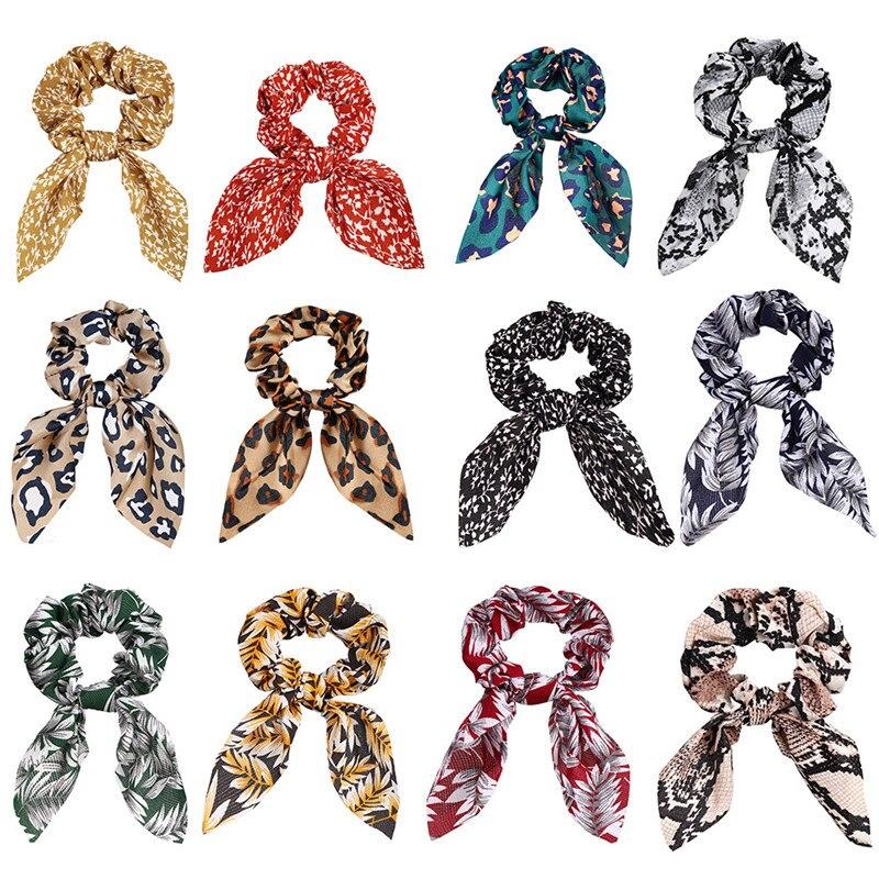 Nova moda chiffon seda wispy floral arco cabelo scrunchies feminino laço do cabelo corda bandas de borracha titular rabo de cavalo acessórios para o cabelo