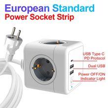 Sopend Smart Home EU Power Plug Socket Power Adapter European Powercube USB Type C Charging