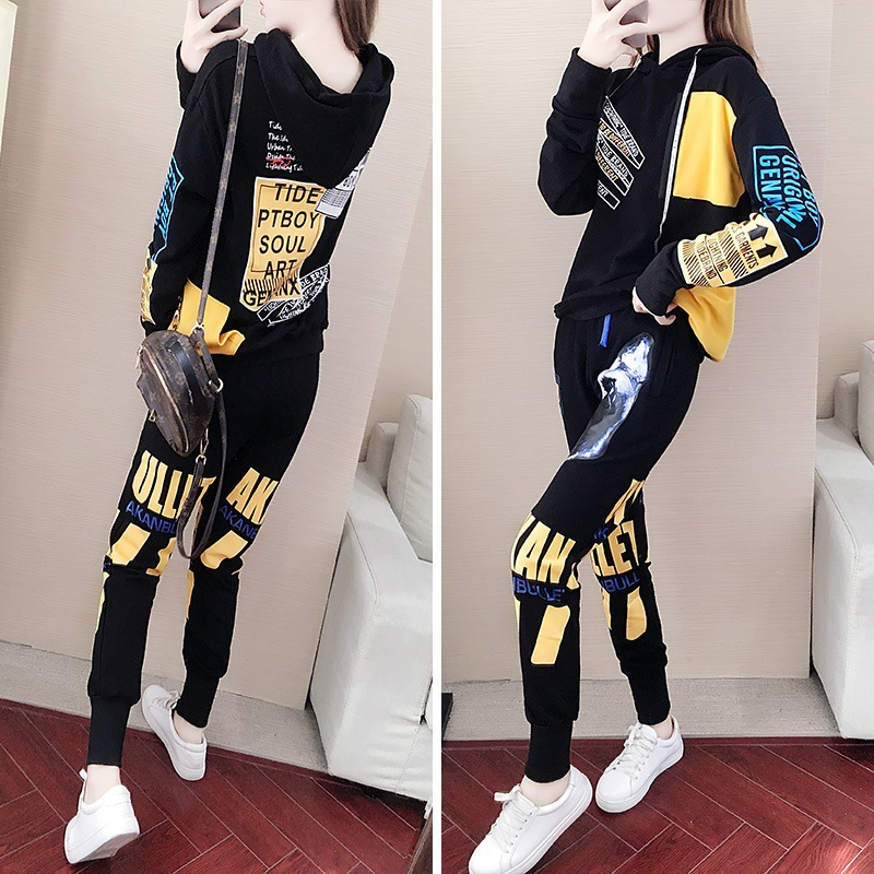 Autumn & Winter Sports WOMEN'S Suit 2019 New Style Korean-style Loose-Fit Cool Fashion Elegant Casual Sweatshirt Two-Piece Set F