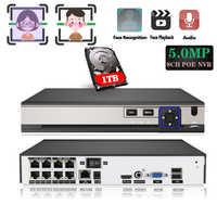 AI gesicht Erkennung Anerkennung 48V POE NVR 8CH 5MP/4MP 1080P Audio Überwachung Sicherheit Video Recorder Für POE IP Kamera ONVIF