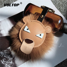 Leather Lion Head Keychain Accessories Hanging Decoration Lady Ornaments Plush Ball Lovely Cartoon Creative Gift