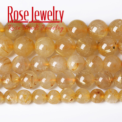 Wholesale Natural Gold Rutile Actinolite Quartz Round Loose Beads 4/6/8/10/12 MM Pick Size For Jewelry Making Necklace Bracelet
