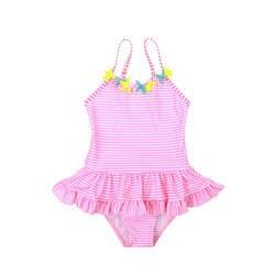19 Новый Стиль Цельный купальный костюм милое платье на бретелях в полоску небольшой цветочным декором для маленьких девочек, детская