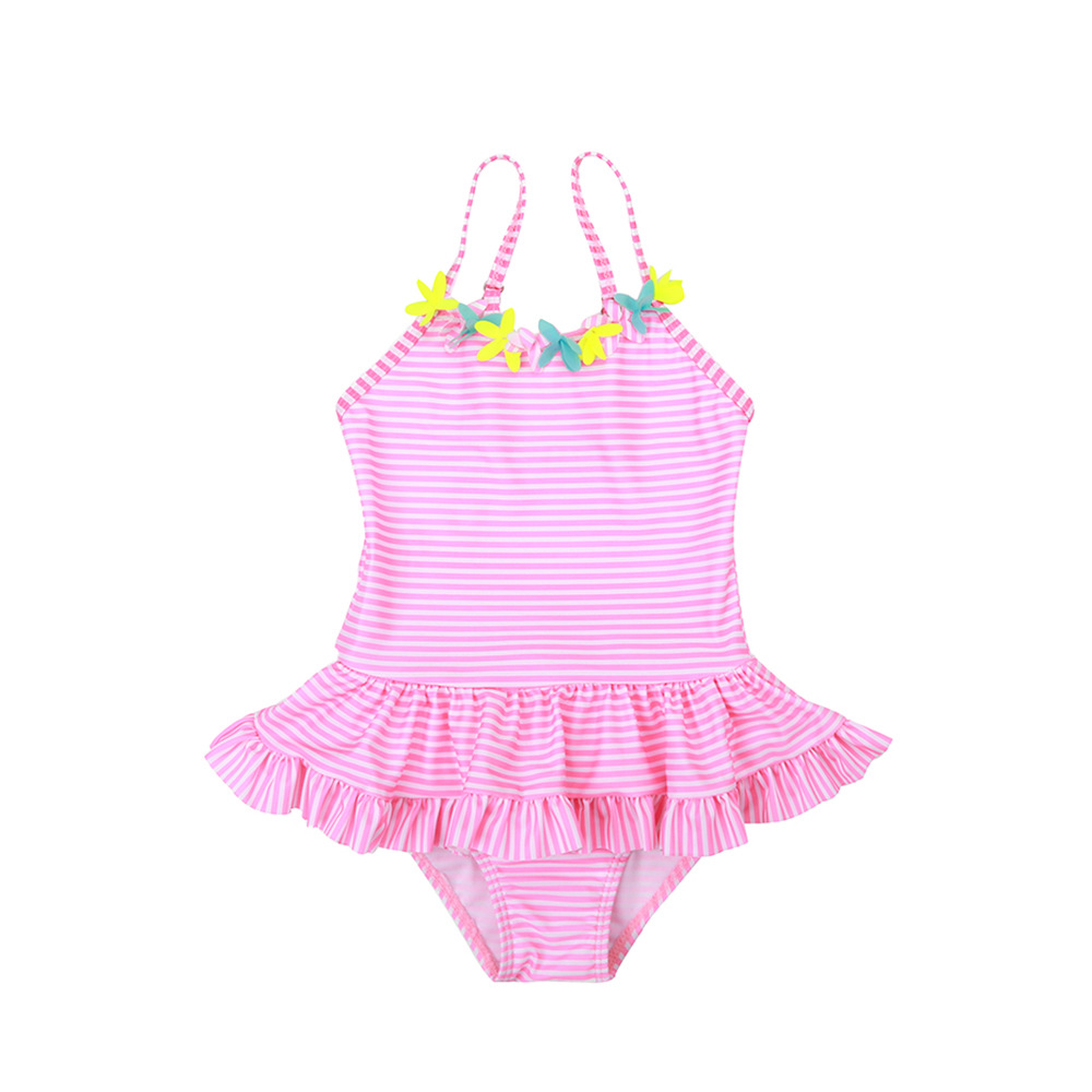 19 New Style One-piece Swimming Suit Sweet Cute Camisole Stripes Small Flower Small CHILDREN'S Girls KID'S Swimwear PRD89002