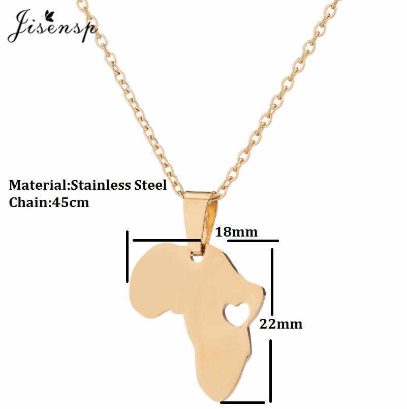 Jisensp ze stali nierdzewnej zarys afryka mapa z serce wisiorek naszyjnik dla kobiet etiopii Ciondolo afryki naszyjniki hurtownie