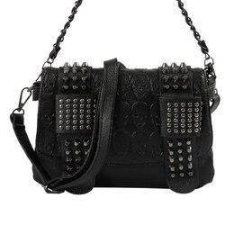 Sacos de mensageiro de couro preto feminino moda vintage mensageiro legal caveira rebites sacos de ombro