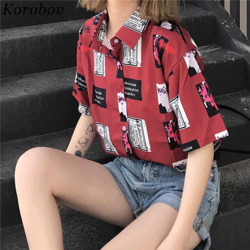 2020 yeni kore düğmesi karikatür baskı kadın bluz moda yazlık gömlek kısa kollu gevşek Casual Vintage kadın Blusas 75467