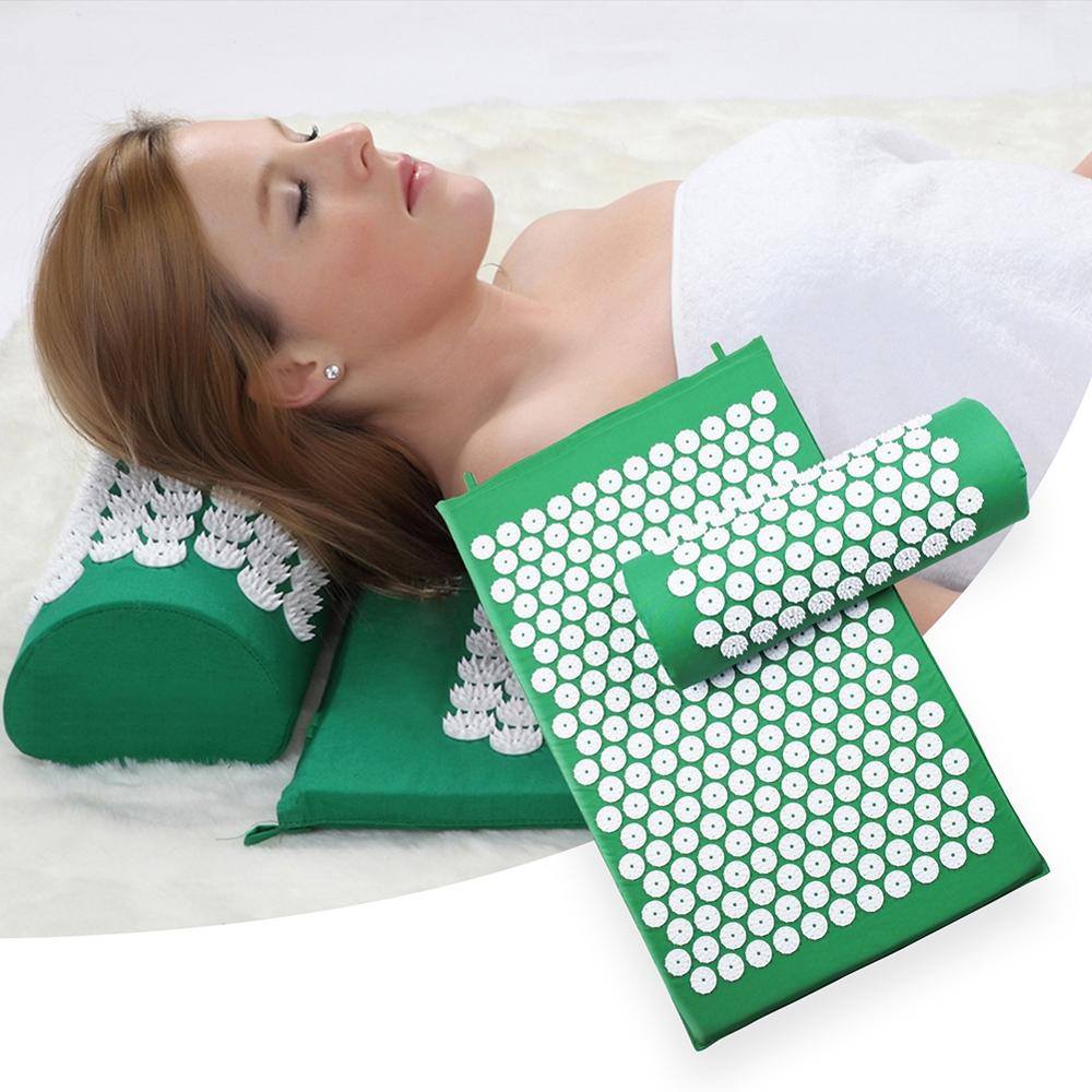 Women men Acupressure massage bed mats set massager cushion pillow back and neck pain relief body pain stress yoga pad massage image
