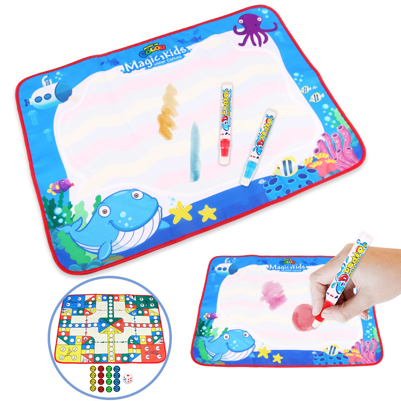 Children Rainbow-colored Magic Water Canvas Aeroplane Chess Game Doing Homework Blanket Graffiti Painted Educational Early Child
