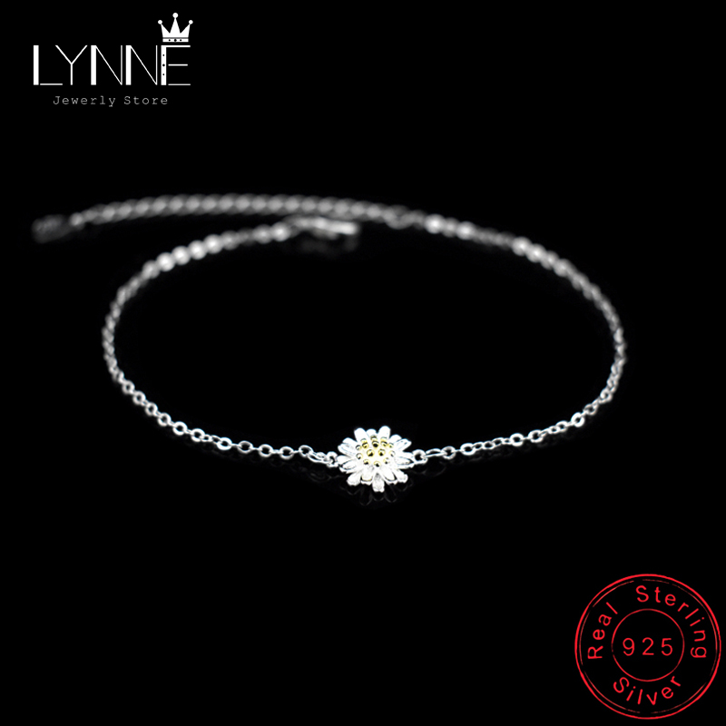 Hot Sale Fashion 925 Sterling Silver Daisy Pendant Anklets Gold Color Chrysanthemum Charm Anklet Chain For Women's Jewelry Gift