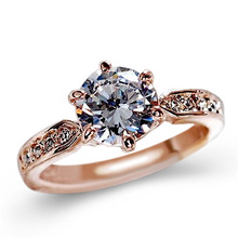 Fashion Womens Simple Zircon Ring  Engagement ring rose golden wedding Personality Creative Gift Wholesale