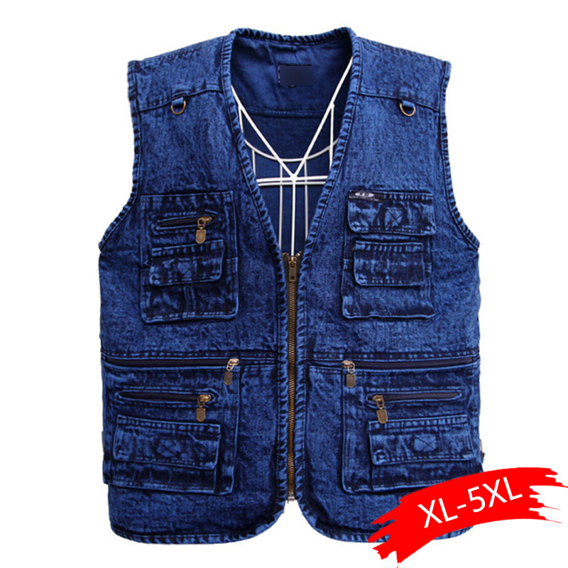 Men's Vest Outerwear Denim Waistcoat Deep Blue Color Plus Size Sleeveless Jacket Multi-pocket Size XL To 5XL Large