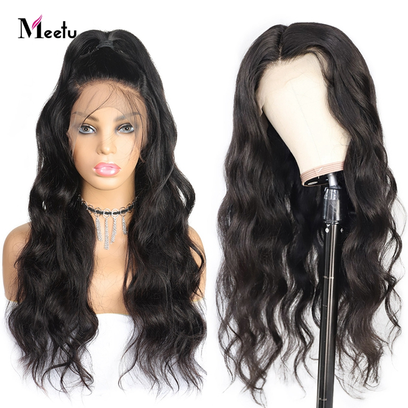 Meetu 13X4 Body Wave Lace Front Human Hair Wigs Malaysian Lace Front Wigs For Black Women Pre Plucked Remy Wigs 180% Density