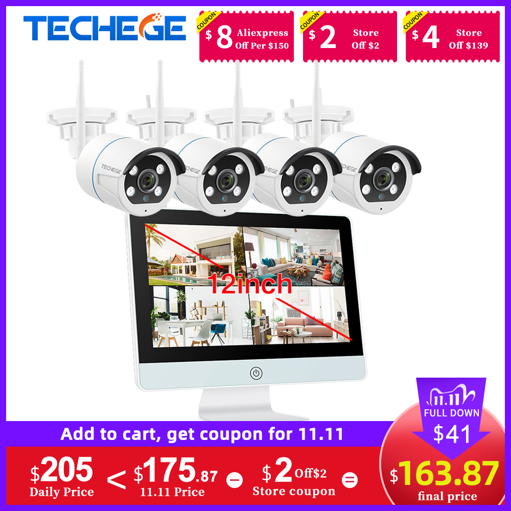 Techege 8CH 1080P 12 Inch LCD NVR Wireless CCTV Security Camera System Kit 2MP Two Way Audio WIFI Camera Kit Video Surveillance