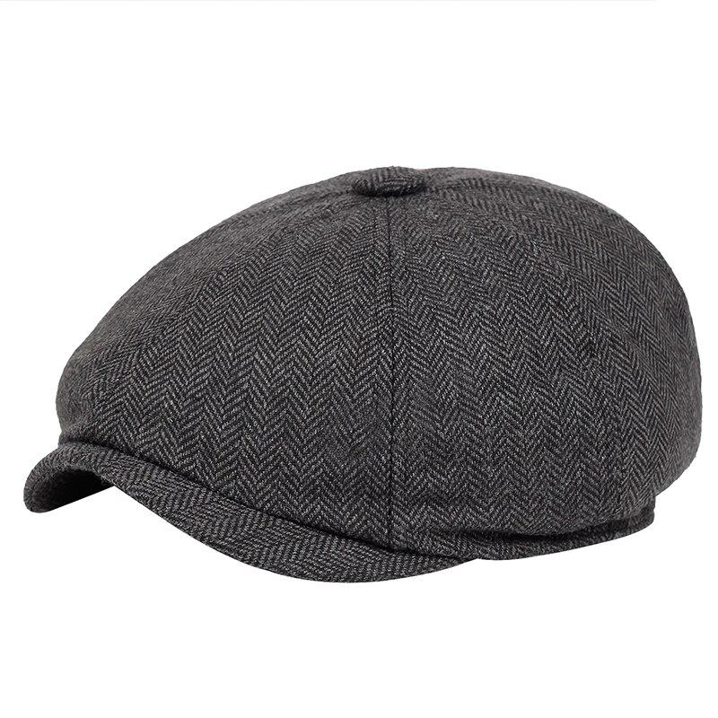 Men beret vintage Herringbone Gatsby Tweed peaky blinders hat Newsboy Beret Hat spring Flat Peaked Beret Hats 2