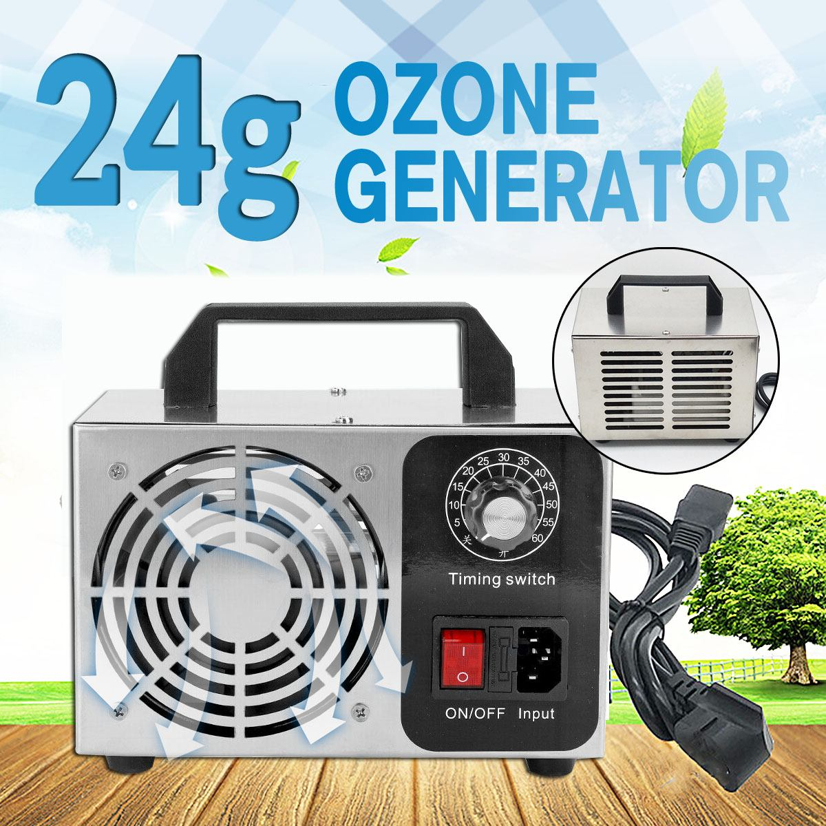 10g/24g Ozone Generator Ozonator Machine Home Air Purifiers Air Cleaner Portable O3 Ozon Generator Ozanizer with Timer Control