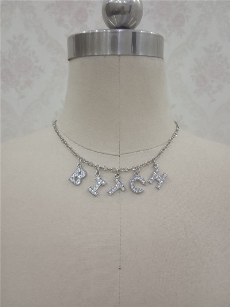 Ha69d669bcc5b45b796c9be6c6a85469ex - Harajuku Letter Crystal Angel Necklace Women Jewelry Couple Gift Necklace BABY HONEY Choker Femme Punk Collier Drop Ship