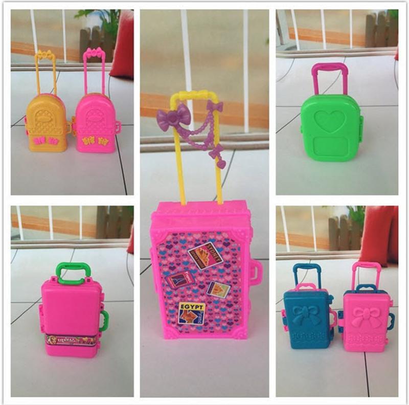 5 teile/los 3D Kid Kinder Spielzeug Reise Zug Koffer Gepäck Fall Puppe Kleid Lagerung Fall Spielzeug Für Barbie Puppen Haus spielzeug