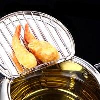 LMETJMA marmite japonaise avec un thermomètre et un couvercle 304 inox cuisine Tempura friteuse poêle 20 24 cm KC0405 4