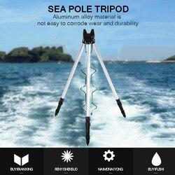 Teleskopowe ze stopu aluminium ze stopu aluminium wędki składane trwałe statyw uchwyt na wędkę morską regulowany 2 sekcje wędki statyw w Narzędzia wędkarskie od Sport i rozrywka na