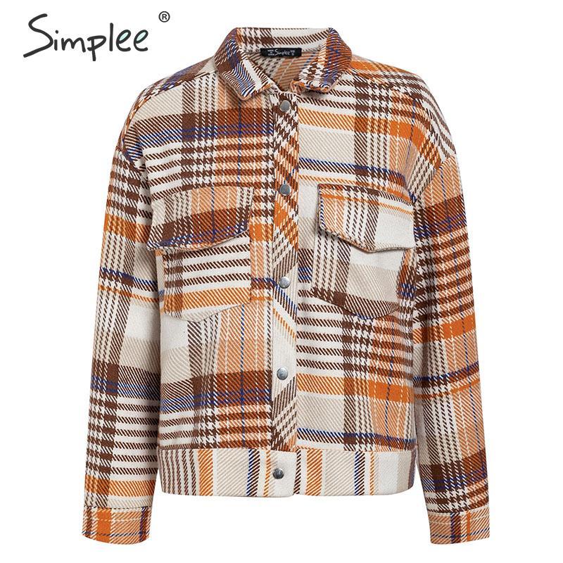 Simplee Single breasted women plaid jacket coat Long sleeve casual autumn outwear female coat Streetwear oversize ladies coat 10