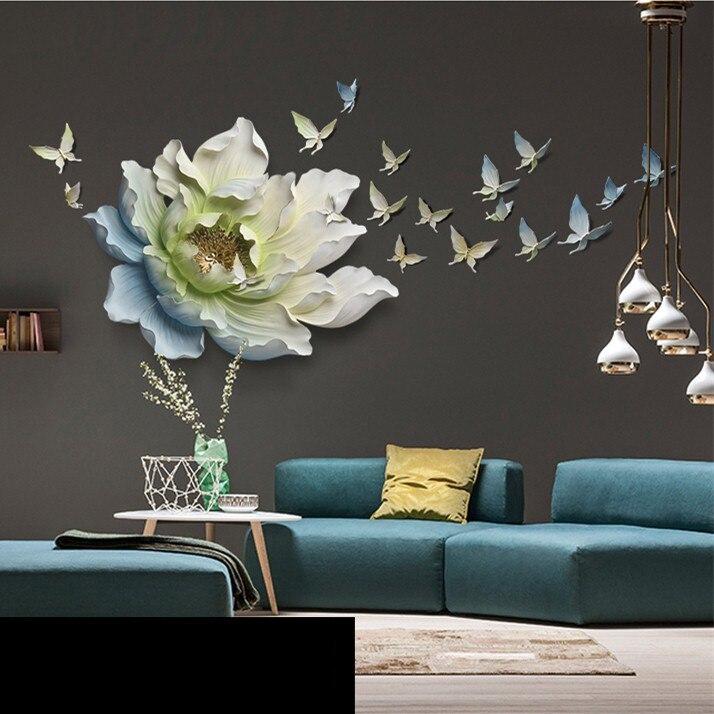 3D Stereo Muur Opknoping Hars Bloem + Vlinder Woondecoratie Ambachten Restaurant Hotel Muur Ornament Sofa Mural Decor - 3