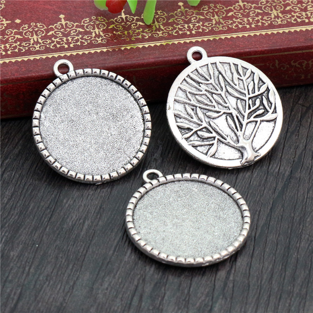 New Fashion  5pcs 25mm Inner Size Antique Silver Plated Tree Cabochon Base Setting Charms Pendant (A3-33)