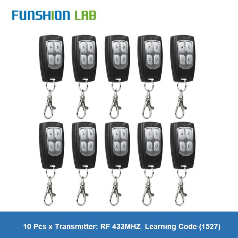 10 Pcs Universal Wireless 4 Buttons 433MHz RF Transmitter <font><b>Remote</b></font> Control For Gate <font><b>Garage</b></font> Door Opener Learning Code <font><b>Key</b></font> Fob DIY image