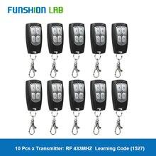 10 adet evrensel kablosuz 4 düğmeler 433MHz RF verici uzaktan kumanda kapısı garaj kapısı açacağı öğrenme kodu anahtarı fob DIY