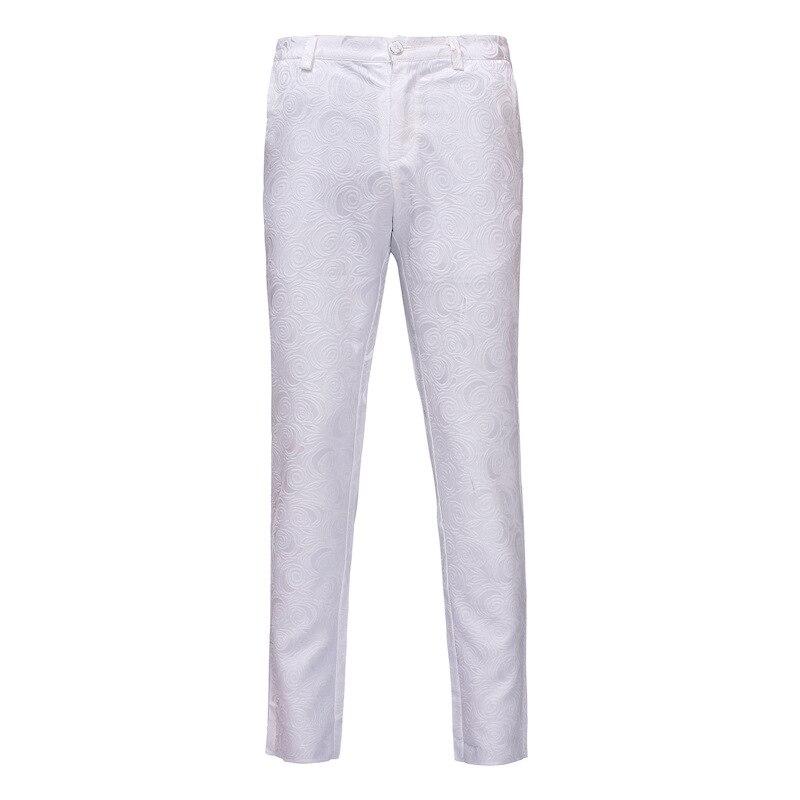 Mens White Rose Jacquard Dress Pants 2020 Brand New Slim Fit Formal Pants Men Office Business Wedding Suit Pants Trousers Men