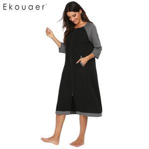 Image 4 - Ekouaer 女性ロングバスローブジッパー閉鎖ローブ SleepwearO ネック半袖ローブ女性ドレッシングガウン部屋着ナイトウェア