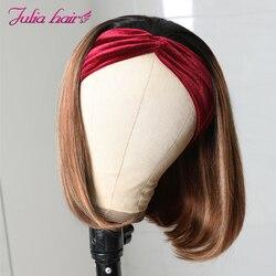 Julia malaisienne mettre en évidence Bob bandeau perruque droite sans colle perruques de cheveux humains avec bandeau 150% densité Ombre cheveux court Bob perruque