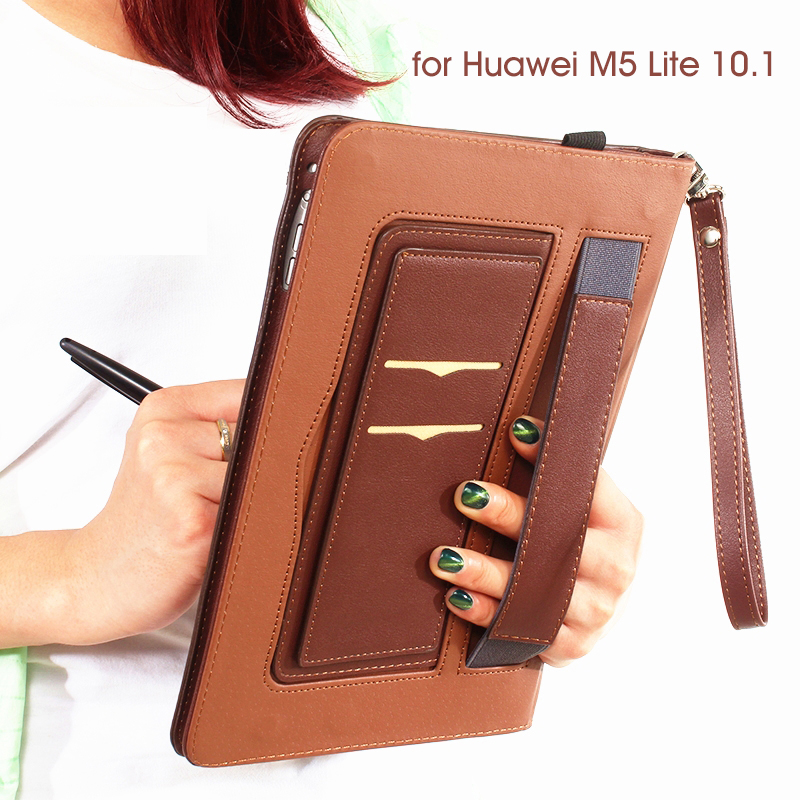 Hand Holder Slim Case For Huawei MediaPad M5 Lite 10 PU Leather Stand Cover For Huawei MediaPad M5 Lite 10.1 BAH2-W19/L09/W09