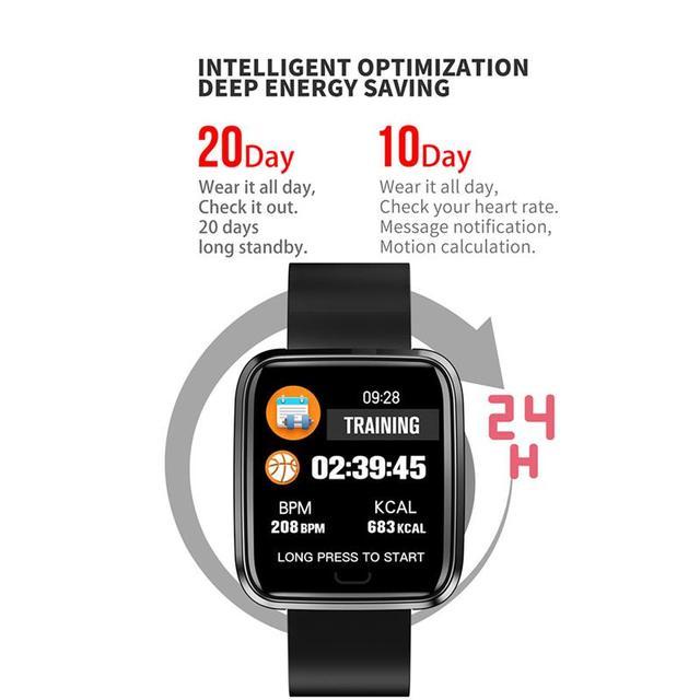 New Bluetooth Smart Watch Fitness Tracker with Heart Rate Blood Pressure Detector Waterproof Sleep Bracelet, Blue/Red/Black 6