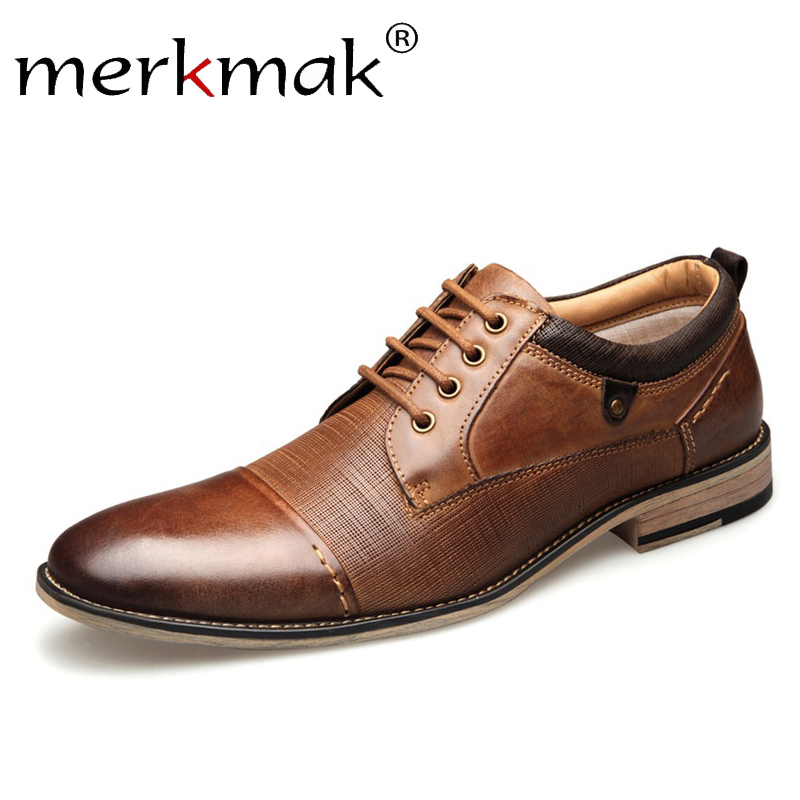 Merkmak Genuine Leather Men Dress Shoes Man Business Spring Autumn Male Lace-up Casual Men's Shoes Formal   Big Size 40-50 Flat