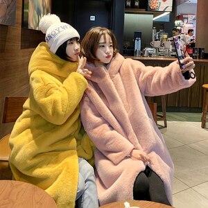Image 3 - Female Winter New Faux Rabbit Fur Coat Thick Warm Flocking Women Luxury Long Fur Jacket Hooded Thick Warm Parka Coats