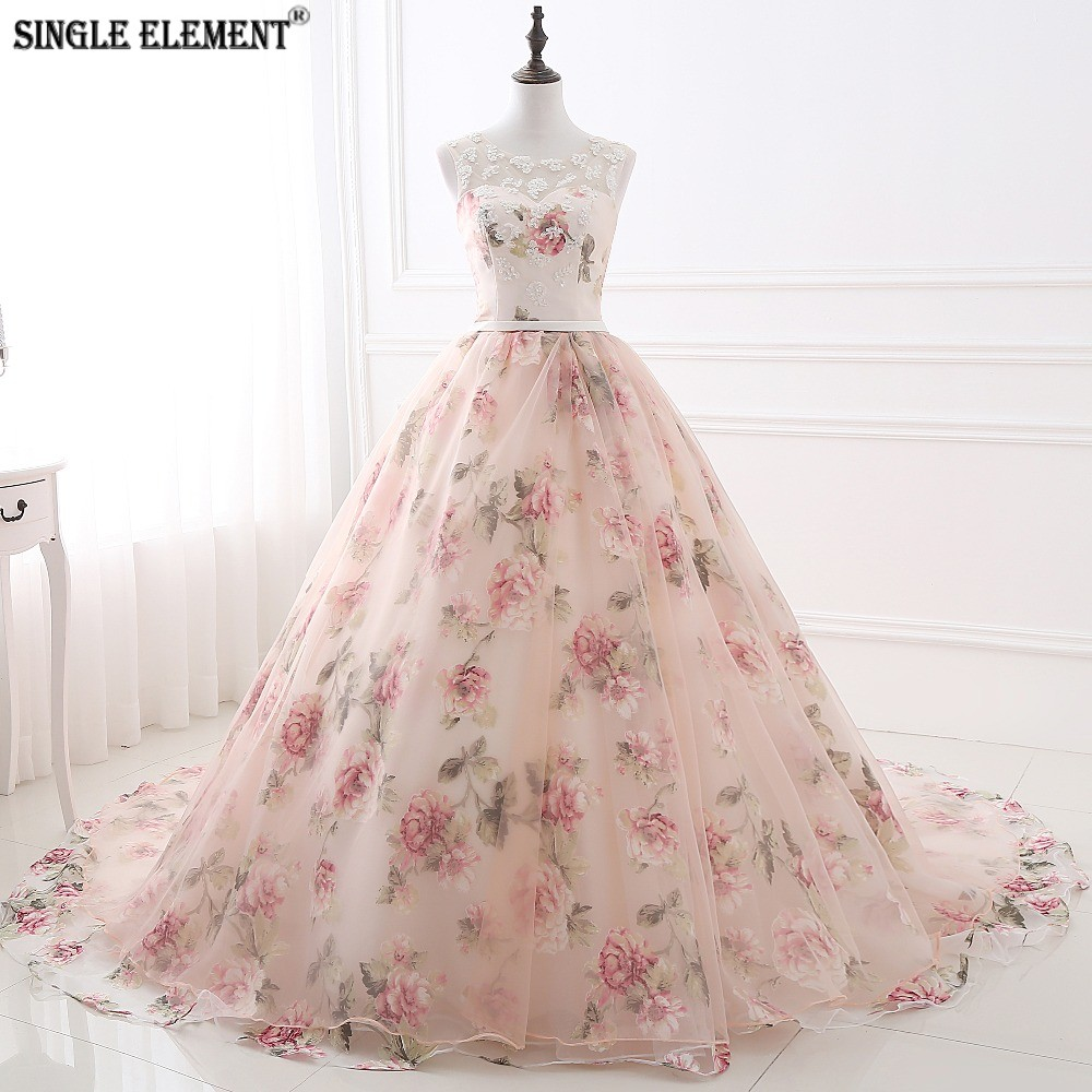 SINGLE ELEMENT Flower Floral Print Ball Gown Prom Dress 2019