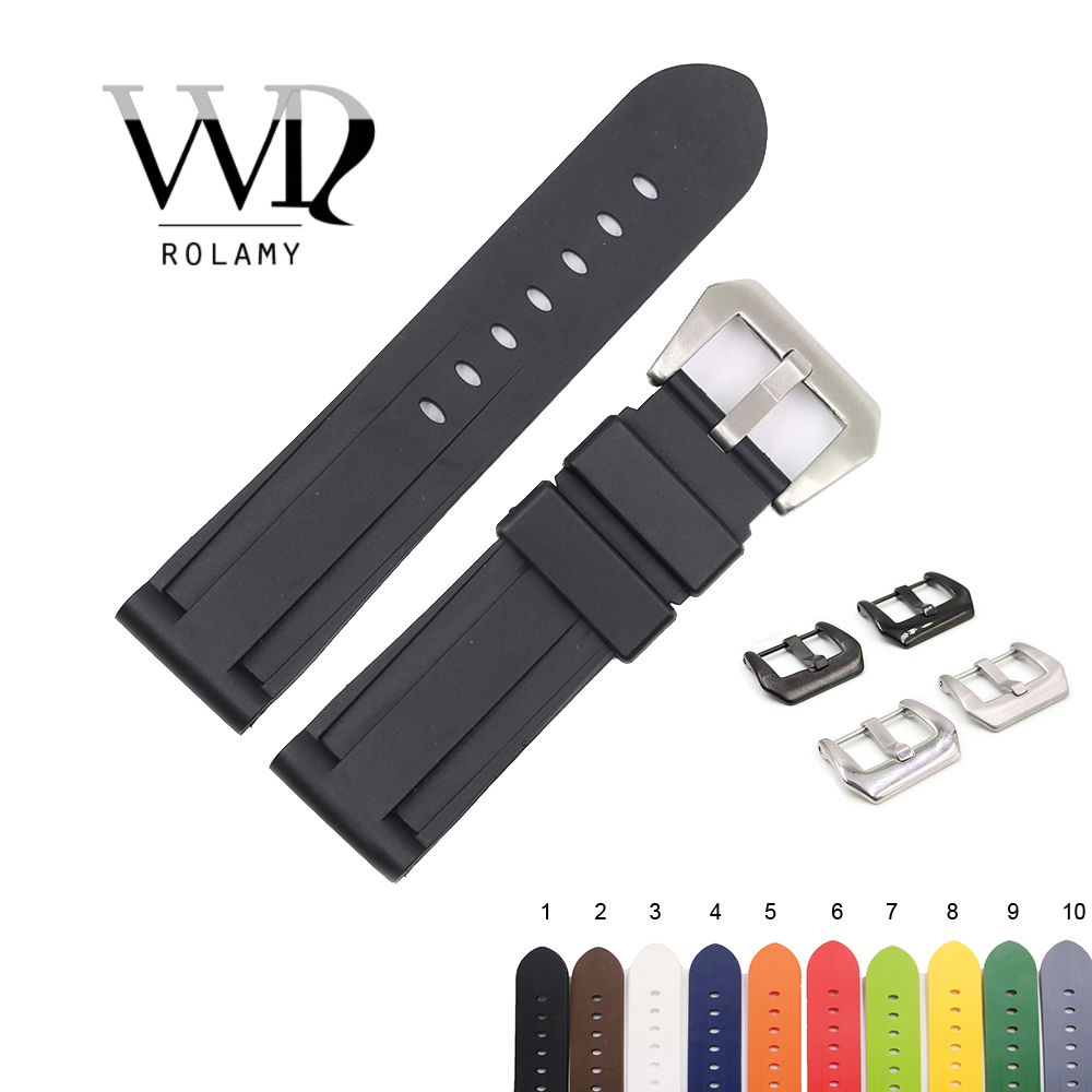 Rolamy 22 24mm Black White Brown High Quality Waterproof Silicone Rubber Replacement Watch Band Loop Strap For Panerai Luminor|Watchbands|   - AliExpress