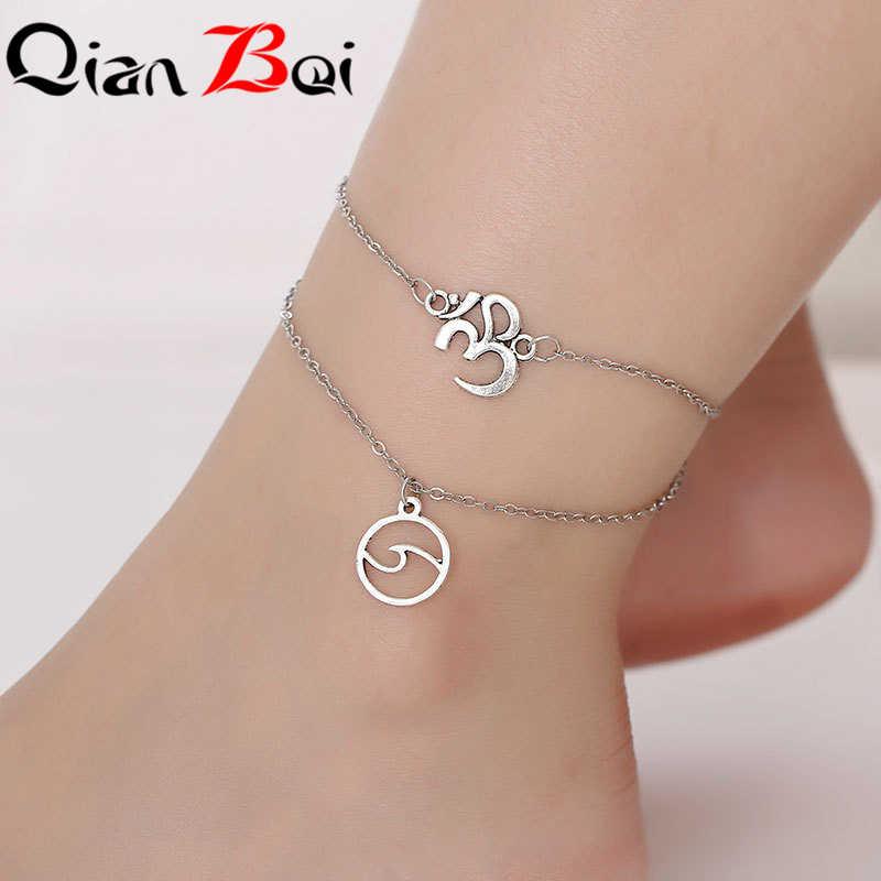 QianBei Vintage plata tobillera mujer carta corazón Boho bohemio encanto joyería infinito tobillos pulseras para mujer