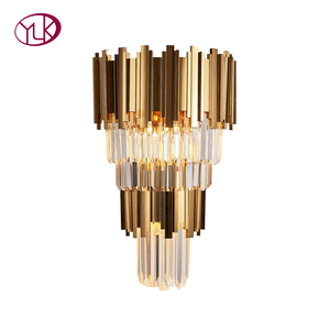 Image 5 - Youlaike Gold Modern Wall Sconces Lighting AC110 240V Two Level Crystal Wall Lamp Bedside Living Room Crystals Light Fixture
