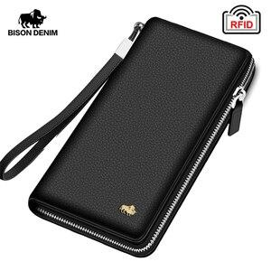 BISON DENIM Brand Genuine Leather Wallet RFID Blocking Clutch Bag Wallet Card Holder Coin Purse Zipper Male Long Wallets N8195(China)