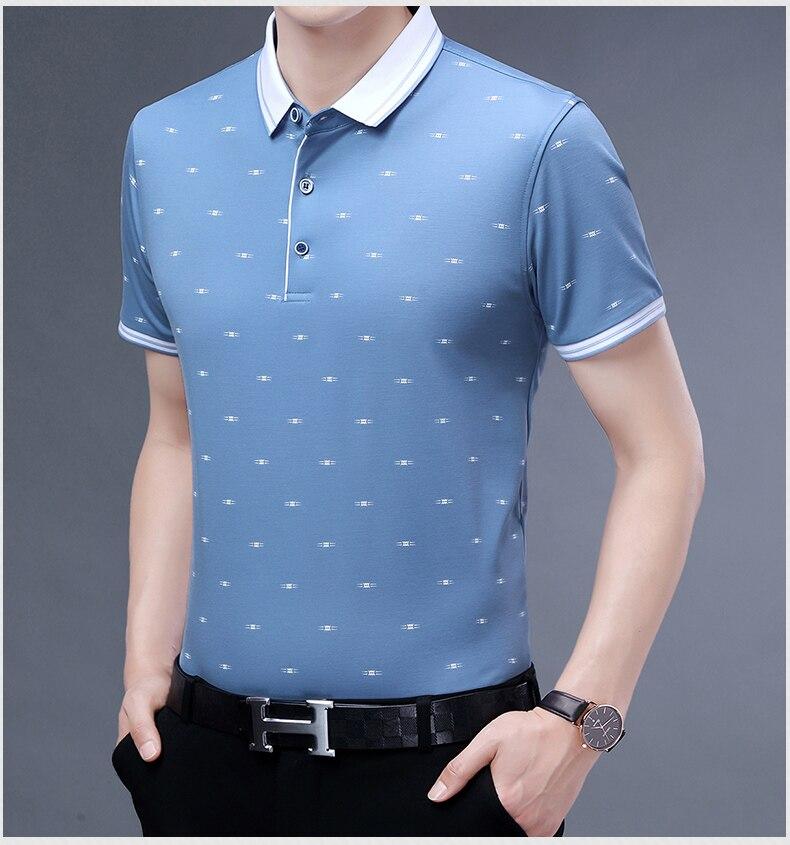 Verde azul pequeno impressão polo camisa masculina