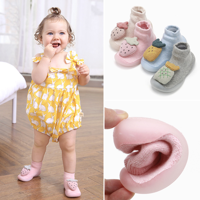 Baby socks shoes baby non-slip cotton floor shoes socks strawberry terry rubber thickened baby toddler shoes baby socks