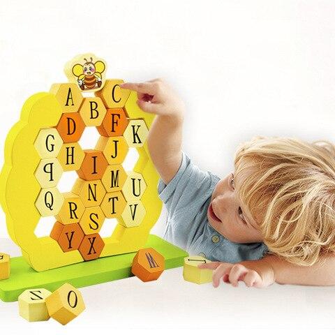 abelhas pilha alta push wall bombeamento educacao precoce alfabeto ingles cognitivo blocos de madeira jogo