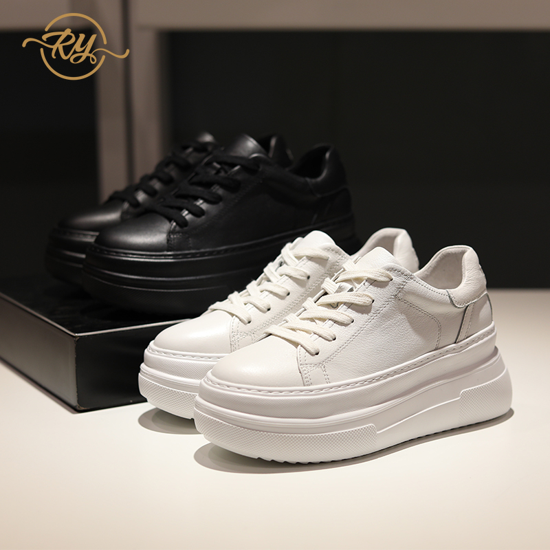 RY-RELAA Womens Sneakers Shoes 2020 Fashion Genuine Leather White Sneakers Women INS Wedges Shoes For Women Casual Shoes Women