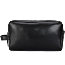 Man Cosmetic Cases Bags Cow Leather Black Casual Fashion Male Travel  Cosmetic Bag Genuine Leather