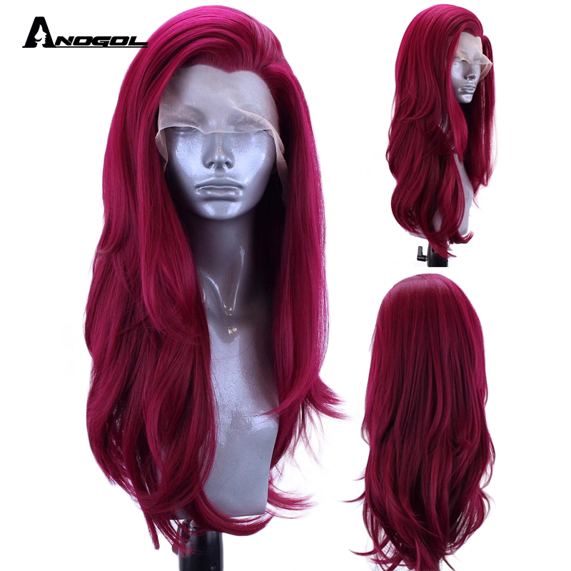 Anogol Burgundy Synthetic Lace Front Wig Long Natural Wave High Temperature Fiber For Women Hair Wigs