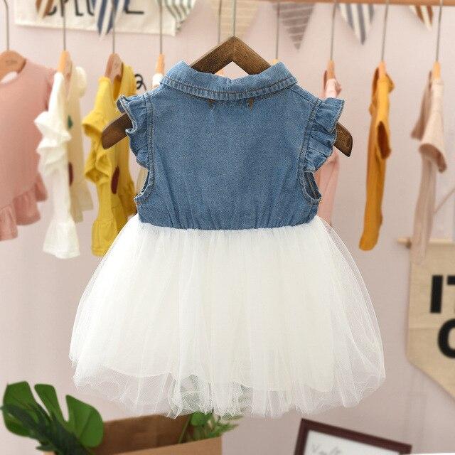 Sukienka dziewczęca 2020 dzieci maluch dziewczynka Denim tiul z krótkim rękawem w stylu Casual, imprezowa księżniczka Tutu sukienka księżniczka Leopard Bow strój koronkowy